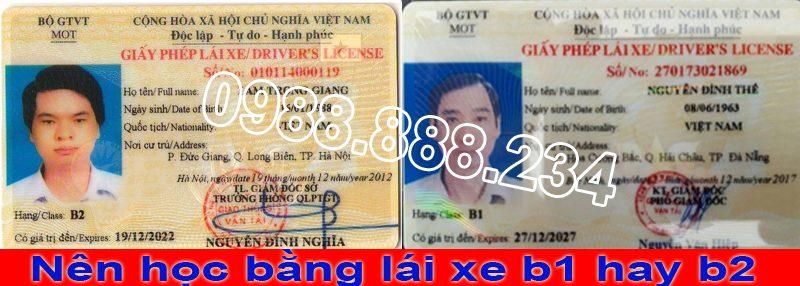 Học bằng lái xe b1 hay b2